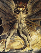 Horrific Paintings - The Great Red Dragon and the Woman Clothed in Sun by William Blake