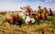 The American Buffalo Prints - The Great Royal Buffalo Hunt Print by Louis Maurer
