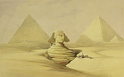 Pyramid Painting Framed Prints - The Great Sphinx and the Pyramids of Giza Framed Print by David Roberts