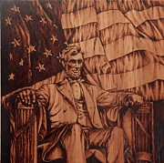 American Flag Pyrography Prints - The Great Thinker Print by Adin Begic