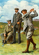 Playing Golf Framed Prints - The Great Triumvirate Framed Print by Clement Flower