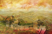 Cemetery Painting Posters - The Great Wall of China Poster by Catf