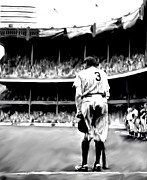 Athletes Drawings Framed Prints - The Greatest of All  Babe Ruth Framed Print by Iconic Images Art Gallery David Pucciarelli