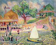 Sailboat Paintings - The Green Beach Cottage by William James Glackens