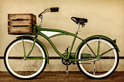 Beach Cruiser Posters - The Green Bike Poster by Martin Bergsma