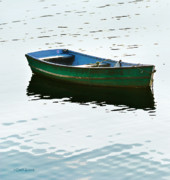 Row Boat Prints - The Green Dinghy Print by Michelle Wiarda