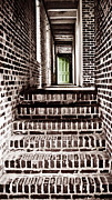 Wooden Stairs Posters - The Green Door 2 Poster by Marilyn Hunt