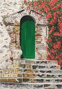 Thomas Pastels Prints - The Green Door Print by Angela Bruskotter