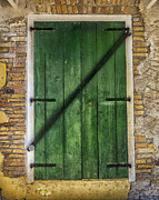 Old Door Framed Prints - The Green Door Framed Print by Betty LaRue