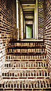Wooden Stairs Framed Prints - The Green Door Framed Print by Marilyn Hunt