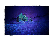 Haunted House  Digital Art - The Green house Under A Purple Night by Roger Winkler