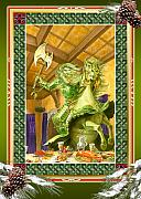 Camelot Prints - The Green Knight Christmas Card Print by Melissa A Benson