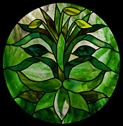 David Kennedy Glass Art - The Green Man by David Kennedy