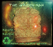 The Tin Man Posters - The Green Man - Recycle Poster by Absinthe Art By Michelle LeAnn Scott