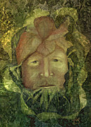 Hall Mixed Media Posters - The Green Man Poster by Rosy Hall