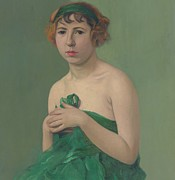 Drapery Framed Prints - The Green Ribbon Framed Print by Felix Edouard Vallotton
