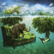 Surreal Art Prints - The green room Print by Martine Roch
