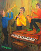 Sax Painting Originals - The Green Shoe Quartet by Larry Martin