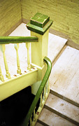 Flight Of Stairs Posters - The Green Stairwell Poster by Jennifer Atherton