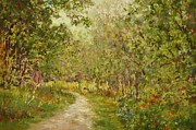 Woodland Scenes Pastels Prints - The Green Walk Print by Barbara Smeaton