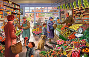 Grapes Digital Art Prints - The greengrocer Print by Steve Crisp