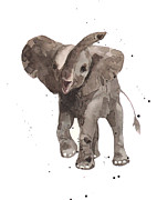 African Art Painting Posters - The Greeter Elephant Poster by Alison Fennell