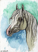 Horse Drawing Painting Prints - The Grey Arabian Horse 16 Print by Angel  Tarantella