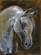 White Horse Painting Originals - The grey arabian horse oil painting by Angel  Tarantella