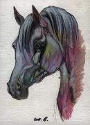 Horse Drawing Posters - The Grey Horse Drawing 1 Poster by Angel  Tarantella