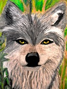 Wild Animal Pastels Posters - The Grey Wolf Poster by Jo-Ann Hayden