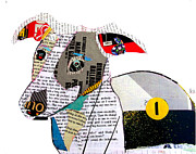 Canine Mixed Media Prints - The Greyhound Print by Brian Buckley