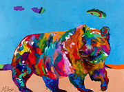 Grizzly Bear Paintings - The Grizzly Days of Summer by Tracy Miller