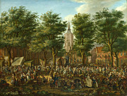 Famous Artists - The Grote Markt at The Hague by Paulus Constantijn La Fargue