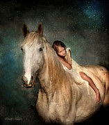 Horse Portrait Art - The Guardian Angel by Dorota Kudyba