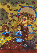 Baptism Painting Originals - The guardian angel by Iwona Fafara-Pilch