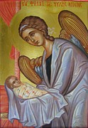 Byzantine Icon Prints - The Guardian Angel Soul Print by Olga Krasanaki