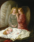 Children.baby Paintings - The Guardian Angels  by Joshua Hargrave Sams Mann