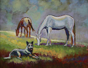 White Horse Prints - The Guardian of the Horses Print by Carol Jo Smidt