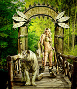 Bow Bridge Digital Art Prints - The Guardian of the magic forest Print by Bogdan  Bratu
