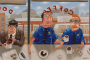 Donuts Painting Prints - The Guilty Guy 1993 Print by Larry Preston