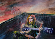 Metaphysical Realism Painting Prints - The Guitar Man Print by Kd Neeley