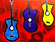 Electric Guitar Painting Originals - The Guitars by Israel  A Torres