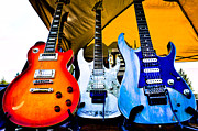 Rock Groups Photo Prints - The guitars of Jimmy Dence - The Kingpins Print by David Patterson