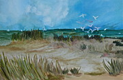 Sand Dunes Paintings - The gulls by Deborah Brier Andrews
