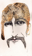 Watercolor Mixed Media Originals - The Guru as George harrison  by Mark M  Mellon