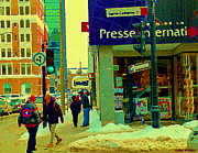Hockey Painting Prints - The Habs Fan Hockey Jacket Maison De La Presse Internationale Librairie Downtown Mtl Scene C Spandau Print by Carole Spandau