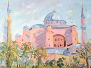 Red And Pink Sky Framed Prints - The Hagia Sophia Church Framed Print by Elinor Fletcher