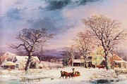 Snow Horses Framed Prints - The Half-Way House Framed Print by Pg Reproductions