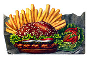 Fries Paintings - The Hamburger by Nonna Mynatt
