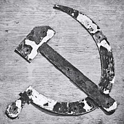 Marxism Framed Prints - The Hammer and Sickle BW Framed Print by Martin Bergsma